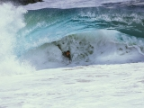 Matt Larson Bodysurfing under a Razor Rip, Wedge, Newport Beach, California