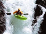 Pro Kayaker Brad Ludden, Running a Waterfall, Rattlesnake Creek, California